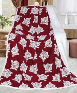 Bellatex Beránková deka Růže vínová