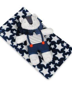 Babymatex Dětská deka modrá s hvězdami s plyšákem lev
